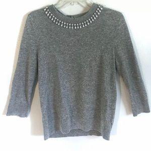 Kate Spade Cashmere Grey Sweater Rhinestone Top